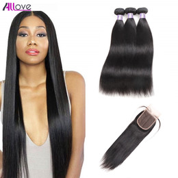 $enCountryForm.capitalKeyWord Australia - Indian Straight Human Hair Bundles With Closure 4*4 Water Wave 3 4pcs Peruvian Hair Deep Wave Malaysian Virgin Hair Extensions Kinky Curly