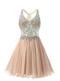 Green homecominG dress rhinestones online shopping - Real Image Champagne Chiffon Short Homecoming Dresses with Beaded Rhinestone Graduation Party Gowns Maid of Honor Dress Prom