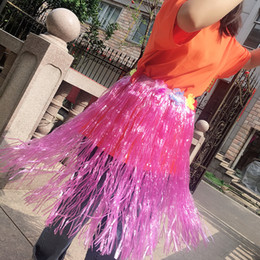 753cb340d9abb Multicolor Plastic Hula Skirt Popular Hawaiian Dance Props Game Performance  Costumes Fans Cheer Accessories Kids Dress up Festival Party