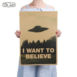 Bar Paintings Australia - TIE LER Vintage Classic Movie The Poster I Want To Believe Poster Bar Home Decor Kraft Paper Painting Wall Sticker 51.5X36cm