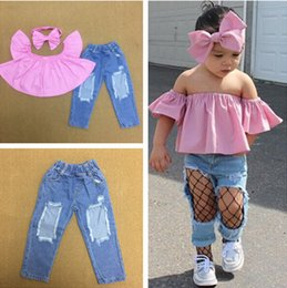 Children s fashion jeans online shopping - Children babygirls piece set slash neck strapless pink t shirt bodycon leggings jeans Hole bow hairband summer clothes lovely fashion