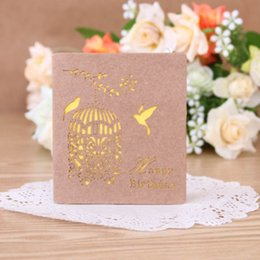 greeting card paper wholesalers NZ - 1Pc Folding Kraft Paper Greeting Card Best Wishes Happy Birthday Blessing Greeting Message Card Event & Party Craft Supplies