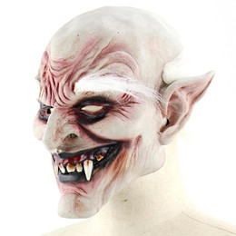 Discount evil face masks New Adult Costume Horn Mask White-browed Old Demon Halloween Horror Devil Mask Vampire Haunted House Evil Killer
