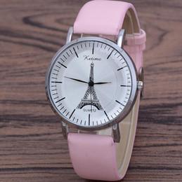 8e58c53d1a35 Retro Dial Watch Mujeres Hombres Simple Torre Eiffel Diseño Banda de Cuero  Analógico Torre Eiffel Cuarzo Reloj de pulsera Relogio Feminino Caliente