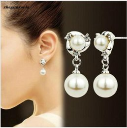 $enCountryForm.capitalKeyWord Australia - New Personality Crystal Earrings High Quality Wild Rhinestones Imitation Pearl Earrings For Women Stud Earrings Boucle D'oreille