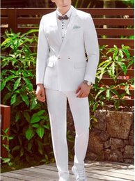 elegant suit white NZ - Tailored Double Breasted White Men Suits Elegant Men Tuxedos For Wedding Dinner Party Prom Suit Sets (Jacket+Pants+Bow)