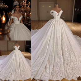 Off white dress red lining online shopping - Hot Sell Off Shoulder White A Line Lace Applique Beaded Short Sleeves Custom Made Sweep Train L Beautiful Fashion Sexy Wedding Dress