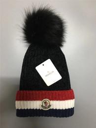 10eee768b905d Unisex Brand Mon Fleece Hats Winter Knitted Fur Poms Beanie Label Fedora  Luxury Cable Slouchy Skull Caps Fashion Women Girls Warm Hat New