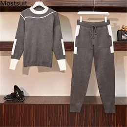 Korean sweater pants online shopping - L xl Knitted Two Piece Pants Sets Oufits Women Long Sleeve O neck Pullover Sweaters And Pants Suits Casual Fashion Korean Sets