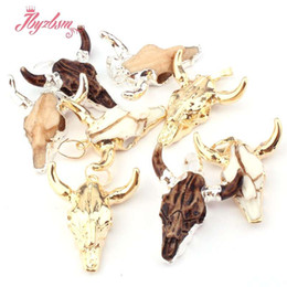 cow pendants NZ - Fashion Horn Cow Head Charm Necklaces & Pendants for Jewelry Making Design Findings Amulet Good Luck Powder Resin 10x22mm DIY