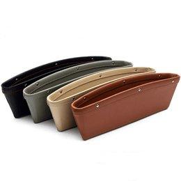 $enCountryForm.capitalKeyWord UK - Seat Gap Receiving Box for Vehicle Leather Car Garbage Cans Car Receiving Box PU Car Interior Accessories Storage Organizer Pockets
