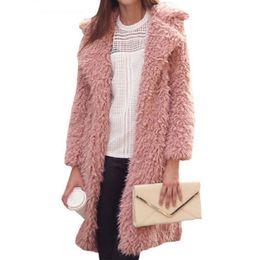 4c1d0afd39e8 Winter Women Fluffy Soft Faux Fur Coat Jacket Female Thick Warm Lamb Wool  Overcoat Long Sleeve Cardigan Outwear Casaco 6Q0483