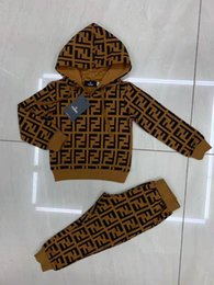 Wholesale leather sleeve woolen coat for sale - Group buy Baby Boy Designer Clothes Newborn Kid Baby Boys Girls Autumn Long Sleeve Hooded Tops Romper Long Pants Outfits Baby Clothes