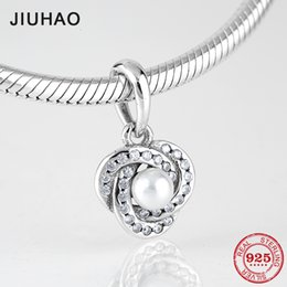 Pendant Pearl Pandora Australia - Love fashion 925 Sterling Silver clear CZ Shell Pearl fine Pendants beads Fit Original Pandora Charm Bracelet Jewelry making