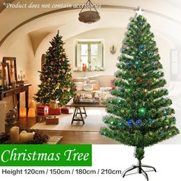 optic fiber tree NZ - Large Size 120CM 150CM 180CM 210CM Colorful Optic Fiber Lamp Green Christmas Tree Iron Stand Home Festival Decorations For Home