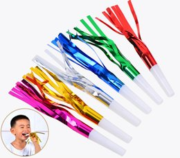 Party Noises Australia - 2019 Children Party Silk Rain Blowouts Whistles Party Favors Kids Birthday Party Funny Prop Noise Maker Toys Small Speaker