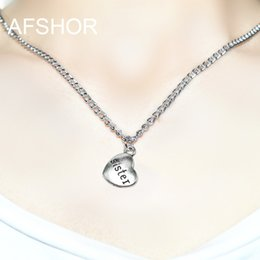 Love Chain Design Australia - Sales Fashion Jewelry Necklace Silver Color Sister Heart 45cm Long Chain Charm Design Pendant Necklaces & Pendants Women collier femme Gifts