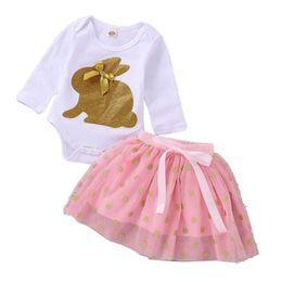 Baby Sequin Tutu Skirt Australia - Easter Day Girls Clothes Newborn Baby Romper+tutu Skirt Outfits Cute Sequin Rabbit Infant Cltohing Set D1107 J190524
