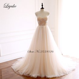$enCountryForm.capitalKeyWord NZ - wholesale Contrast Color Strapless A-Line Wedding Dress Simple With Beautiful Beading Lace Up Closure Bridal dress