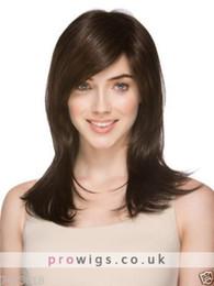Human Hair Wig Beautiful UK - Beautiful Sexy Long Brown Straight Wig For Women Human Hair New