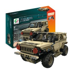 wood cars for kid Australia - 538pcs DIY 2.4G 4H USB Charging Building Block RC Car Toys Simulated Military Vehicle Electric RC Car Model For Kid MoFun-13009