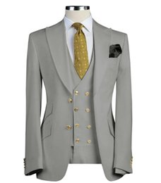 $enCountryForm.capitalKeyWord NZ - Men Suits 3 Pieces Slim Fit Business Suits Groom Army Green Noble Grey White Tuxedos for Formal Wedding suit(Blazer+Pants+Vest)