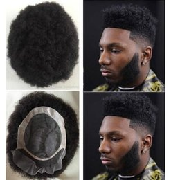 toupee lace wig 2019 - Hair System Men Hairpieces Afro Hair Toupee Lace Front with Mono NPU Jet Black #1 Brazilian Virgin Human Hair Replacemen