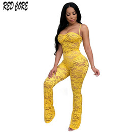 9c04f62eff9 REDCORE Sexy Lace Ladies Jumpsuits Summer 2019 Rompers Womens Jumpsuit  Hollow Out Off Shoulder Playsuit Trousers Women LTK040