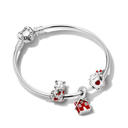 Silver Black Red Australia - Pandora black friday 2018 red house pendent charm bracelets 925 sterling silver jewellery full package gifts
