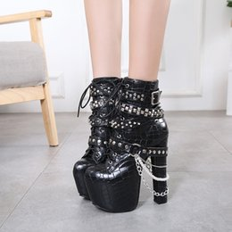 sexy ankle chains NZ - New designer women's boots waterproof platform 16cm chunky heel sexy rivets black martin ankle booties for winter