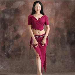 Sexy dancerS clotheS online shopping - Cheap Dancer Costume Women Shine Bellydance Clothes Summer Short Sleeve Top Sexy V Neck Skirt Coffee Black Purple
