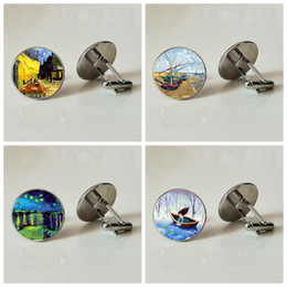 Painting Clip Australia - Aesthetic oil painting Men's Cufflinks Glass Cufflinks Business Shirt Natural elegance Handmade Personality Photo