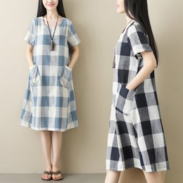 $enCountryForm.capitalKeyWord Australia - Hot sale summer ramie cotton fabric plaid dress girls simple loose teen dresses for woman black and white