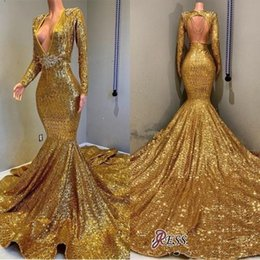 $enCountryForm.capitalKeyWord Australia - Sexy Gold Sequined Prom Dresses 2019 Deep V Neck Mermaid Evening Gowns Long Sleeves Open Back Sweep Train Party Dress Cheap