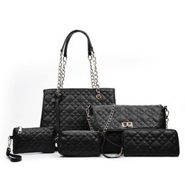 $enCountryForm.capitalKeyWord Australia - Designer-2017 New Fashion 6pcs set women designer handbags hot sale hand bags Diamond Lattice compasite Bag