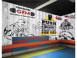 $enCountryForm.capitalKeyWord Australia - Customized 3D stereo sports gym photo wall paper mural Vintage plank sport gym club image wall background decorative papel de parede