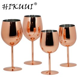rose wine glasses Australia - 350ml   550ml Rose Gold Stainless Steel Wine Glass Drinking Cup Champagne Goblet Barware Kitchen Tools Party Supplies