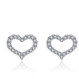 China LULU-PIG 925 sterling silver earrings - Korean version of heart - shaped earrings with hollow and micro studded E0224 cheap korean earrings suppliers