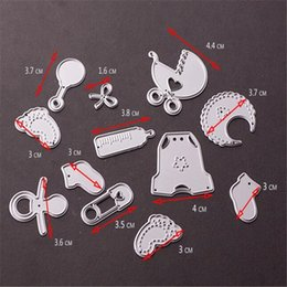 stencil cutters UK - 12PCS Baby Foot Metal Cutting Dies For Scrapbooking Stencils DIY Cards Album Decoration Embossing Folder Die Cutter Template