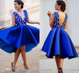 Royal blue lace backless dRess online shopping - Cheap Royal Blue V Neck Homecoming Dresses Lace Sleeveless Open Backless Satin Hi Lo Prom Dresses Elegant Formal Dresses Short Evening Gowns
