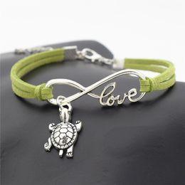 $enCountryForm.capitalKeyWord Canada - Hot New Infinity Love Tortoise Sea Turtle Animal Bracelet Green Leather Suede Charm Bangles for Men Boy Women Girl Jewelry Accessories Gifts