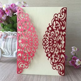 Luxury Wedding Invitations Red Australia - 25 pcs   lot Luxury Hollow Out Wedding Invitations Cards Exquisite Envelope Treacly Honey Invitations Cards House Moving Vintage Sculpture