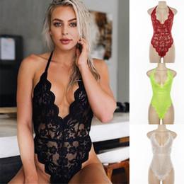 1PC Hot Vendas See-through Lace Bodysuits Sexy Lingerie Lace Bodysuit Mulheres Verão Corpo Jumpsuit Lingeries S / M / L grátis em Promoção