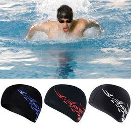 Hat For Pool NZ - Outdoor Elastic Waterproof PU Fabric Swim Cap Ears Long Hair Protection Sports Swim Pool Hat Swimming cap for Men Women