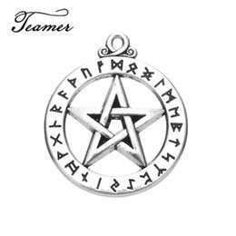 Antique Metal Letters Australia - star charm Teamer 5pcs lot Pentagram Pendant Metal Antique Silver Color Greek Letter Religiuos Star Charms Jewelry from Ourself Factory