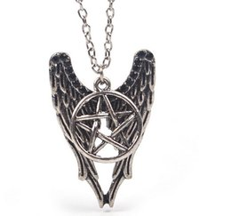 $enCountryForm.capitalKeyWord UK - Vintage Silver Forces Of Evil Pentagram Wings Best Friend Anchor Star Heart Necklace Pendant For Women Jewelry Accessories Q786