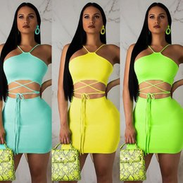 3d7f57fe4 Women s bandage skirts online shopping - Fluorescent Skirt Set Bandage  Sleeveless Lace Up Crop Top