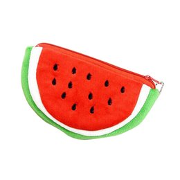 watermelon kids bag UK - Big Volume Watermelon School Kids Pen Pencil Bag Case Popular Coin Purses Plush Red Watermelon Coin Bags Fruit Wallet P5