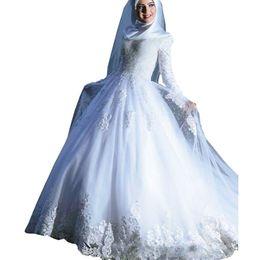 $enCountryForm.capitalKeyWord UK - Muslim Arabic Vintage White Appliqued Lace Wedding Dresses Sheer Tulle A Line Long Sleeves Bridal Gowns Corset Vestido de noiva