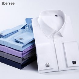 sleeve fit flare wedding dresses Australia - Jbersee Plus Size Men Fashions French Cuff Luxury Shirt Men Slim Fit Casual Brand Long Sleeve Wedding Party Mens Dress